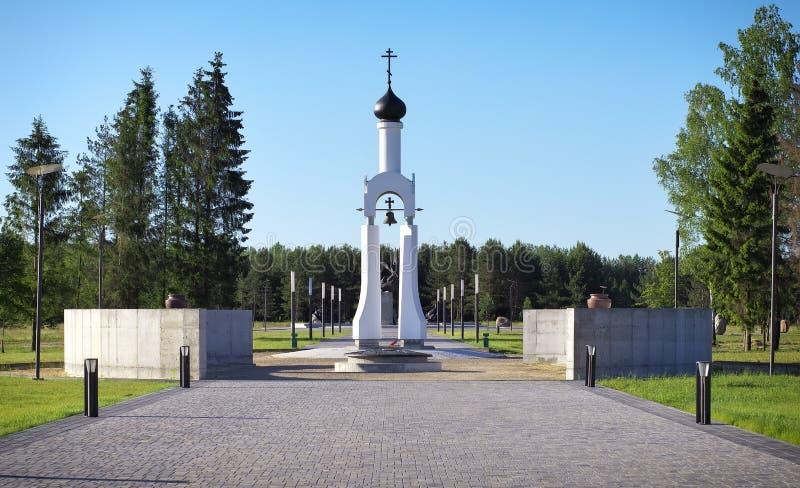 Kapell i Victory Park, i staden av Smorgon, Vitryssland royaltyfria bilder