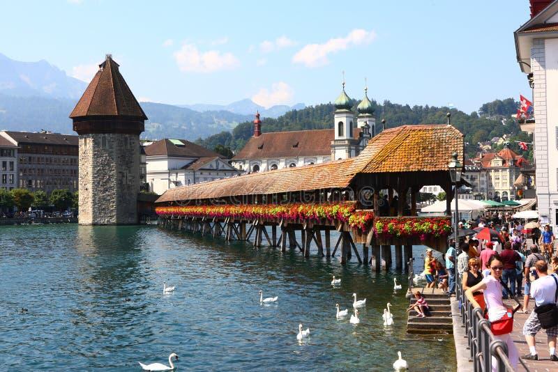 Kapellbro i Lucerne royaltyfri foto