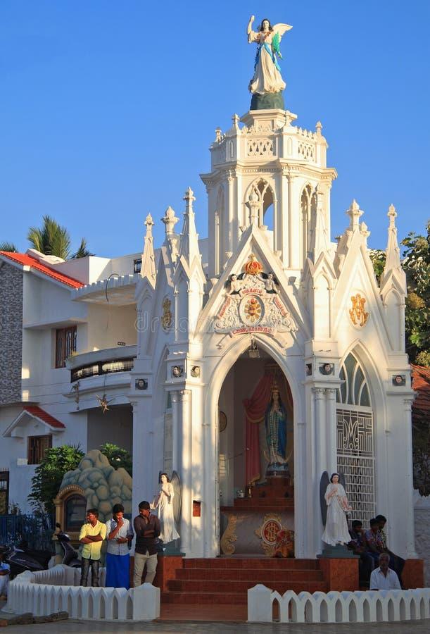 Kapelle der katholischen Kirche in Kanyakumari, Süd-Indien stockfotos