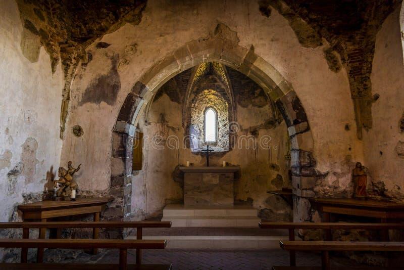 Kapelle in der Ruine von Aggstein-Schloss Wachau-Tal Österreich stockfotografie