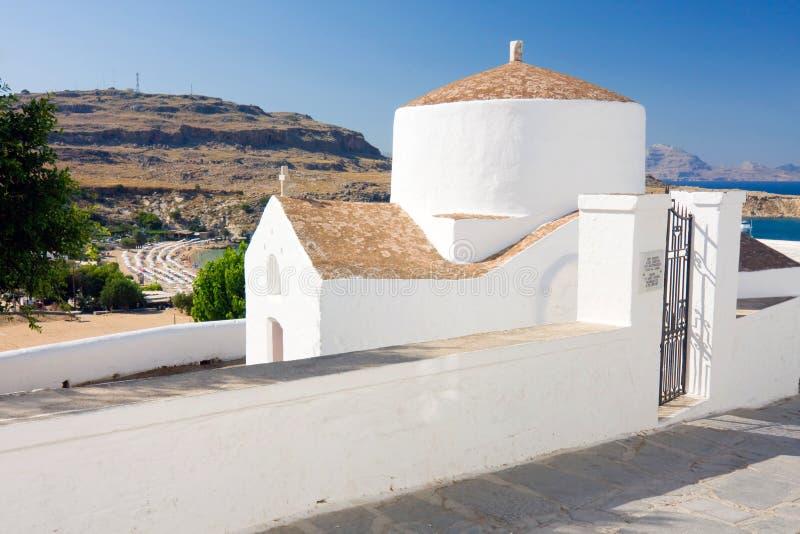 Kapelle, Lindos, Rhodos lizenzfreie stockfotografie