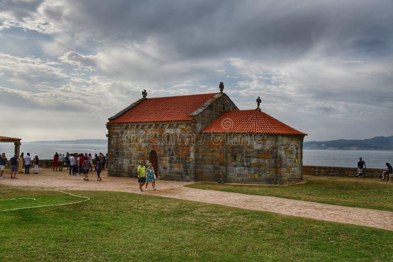 Kapelle unserer Dame von La Lanzada, Galizien Unsere Dame von La Lanzada-Kirche, Sanxenxo, Spanien stockfoto
