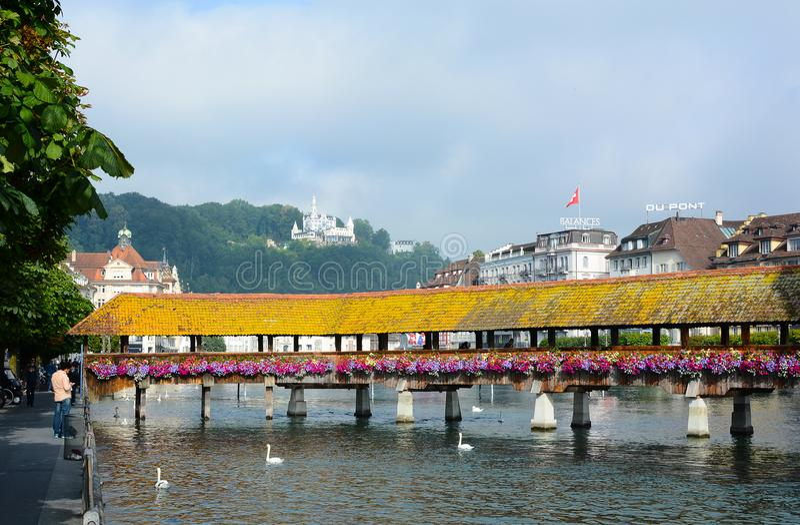 Kapellen-Brücke auf dem Reuss-Fluss stockfoto