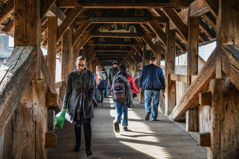 Kapellen-Brücke in Luzern lizenzfreie stockfotos