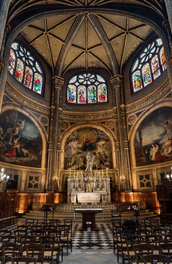 Kapellet av oskulden i helgon-Eustachekyrka i Paris Frankrike arkivbilder