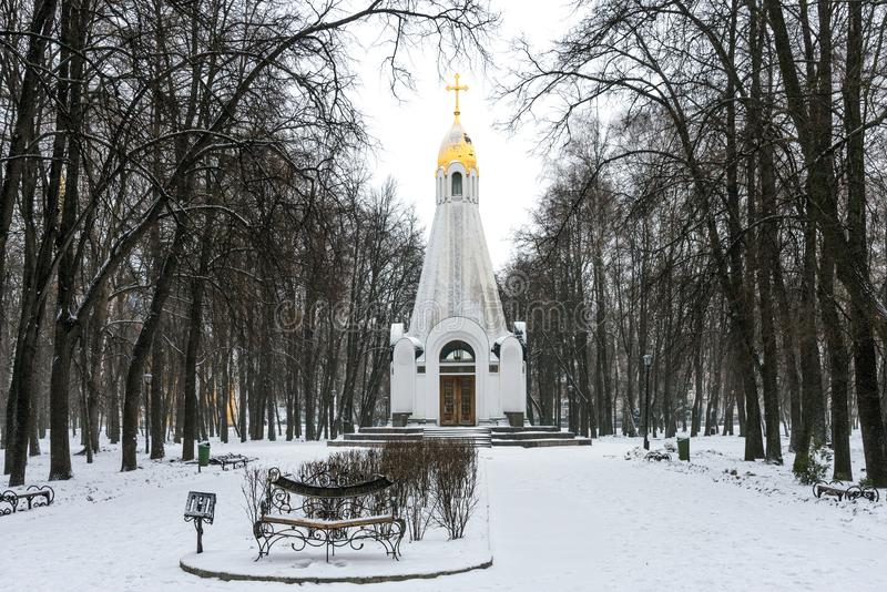 Kapellet av Ryazan den 900. årsdagen i Kreml parkerar i Ryazan i vinter, Ryssland royaltyfria foton