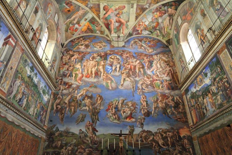 kapellfrescomichelangelo sistine vatican royaltyfri bild