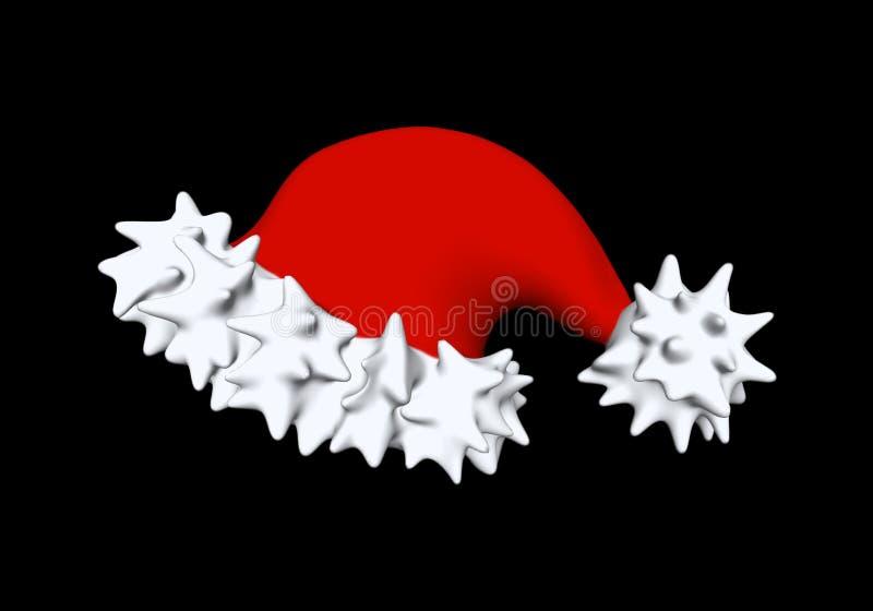 Kapelusz dla nowego roku wakacje dla Santa 3D ilustraci odizolowywającej na czerni royalty ilustracja
