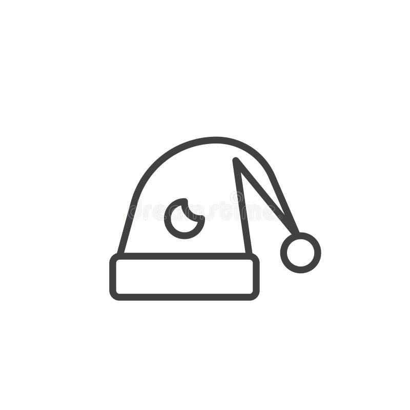 Kapelusz dla sen linii ikony ilustracji