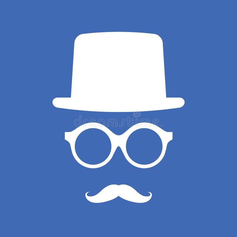 Kapelusz, Eyeglasses i wąsy, ilustracji