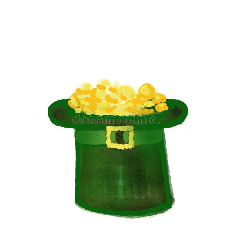 Kapelusz faszerujący z złocistymi monetami Personifikuje Patrick&-x27; s dzień Marzec 17 ilustracja wektor