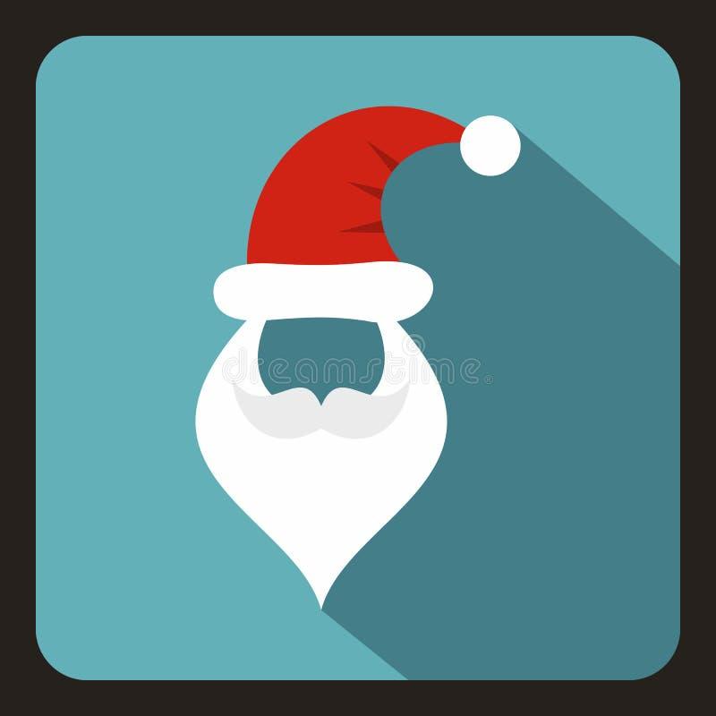 Kapelusz i broda z wąsy Święty Mikołaj ikona ilustracji