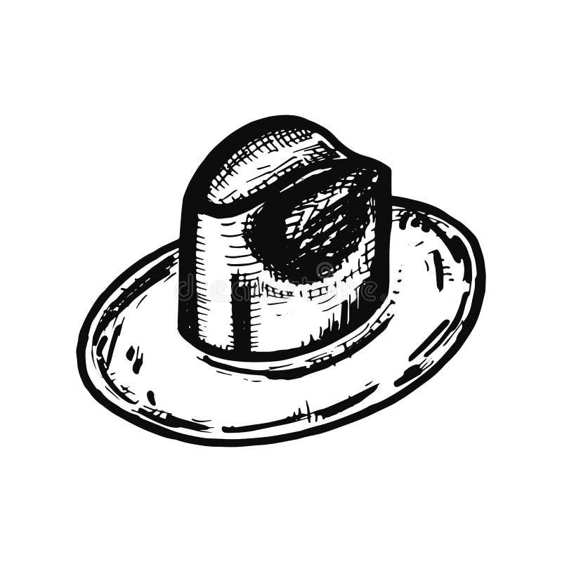 Kapelusz jest męskim przedmiotem Odosobniony nakreślenie ilustracja wektor