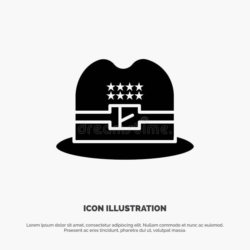 Kapelusz, nakrętka, Amerykański stały glif ikony wektor royalty ilustracja