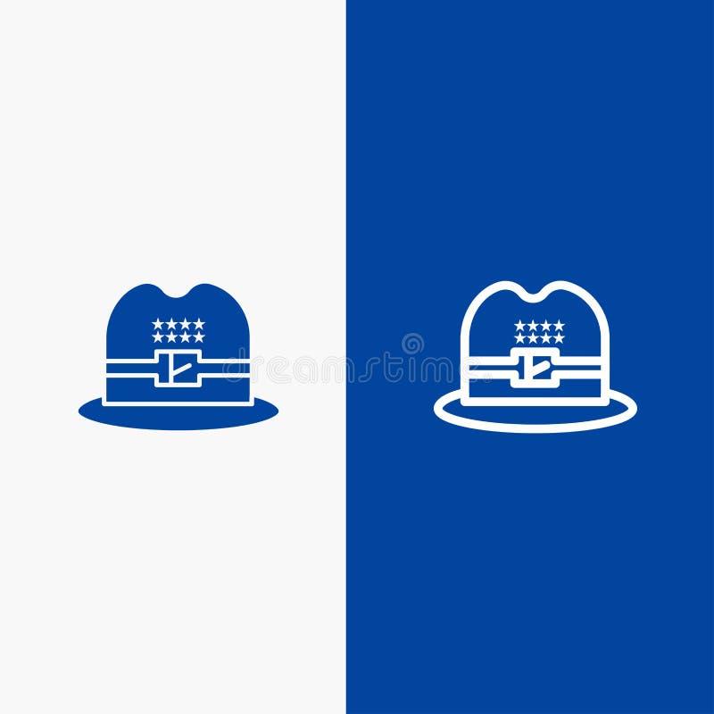 Kapelusz, nakrętka, amerykanin linia i glif Stałej ikony sztandaru glifu, Błękitnej ikony błękita Stały sztandar ilustracja wektor