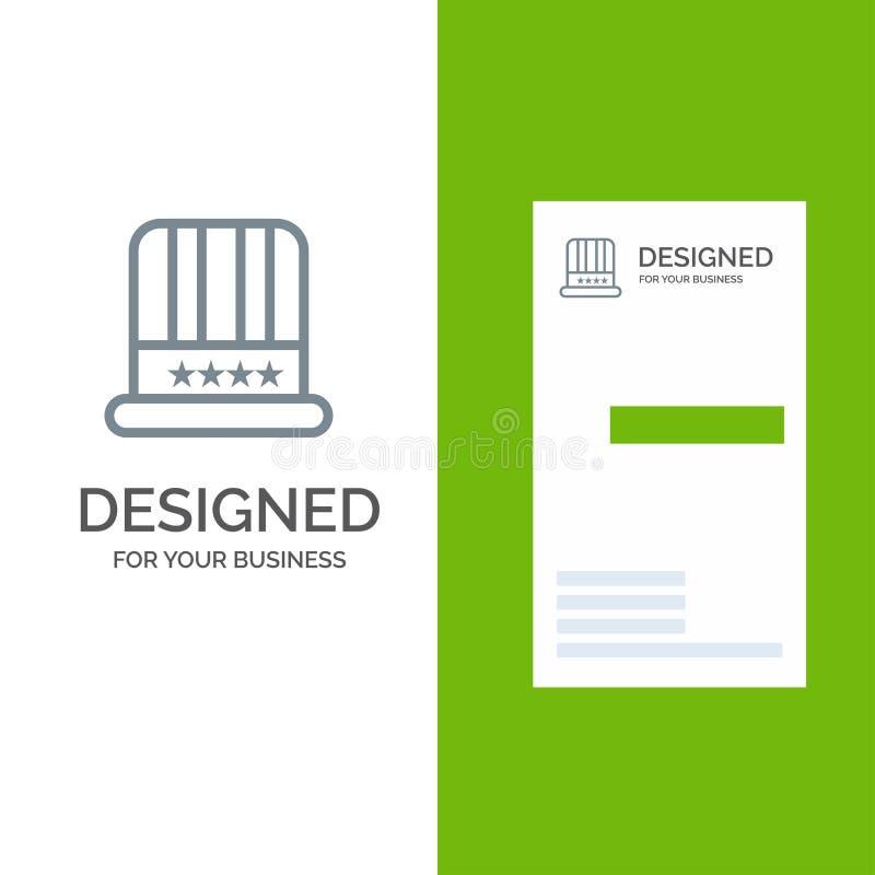 Kapelusz, nakrętka, amerykanin, Usa Siwieje logo projekt i wizytówka szablon royalty ilustracja