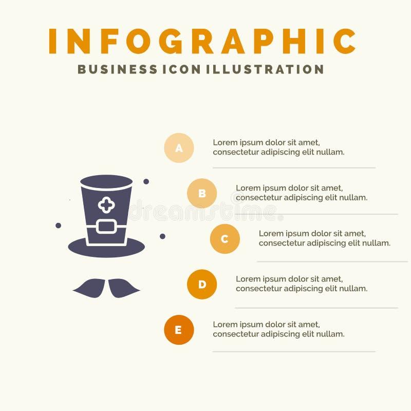 Kapelusz, nakrętka, Irlandia ikony Infographics 5 kroków prezentacji Stały tło royalty ilustracja