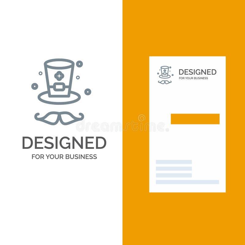 Kapelusz, nakrętka Irlandia logo Popielaty projekt i wizytówka szablon, ilustracja wektor