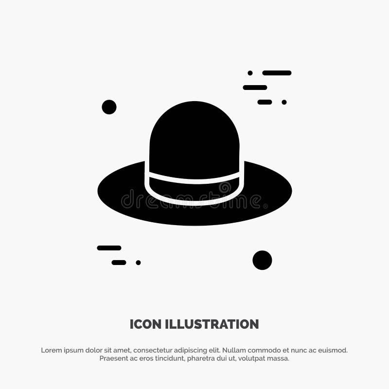 Kapelusz, nakrętka, Kanada glifu ikony stały wektor royalty ilustracja