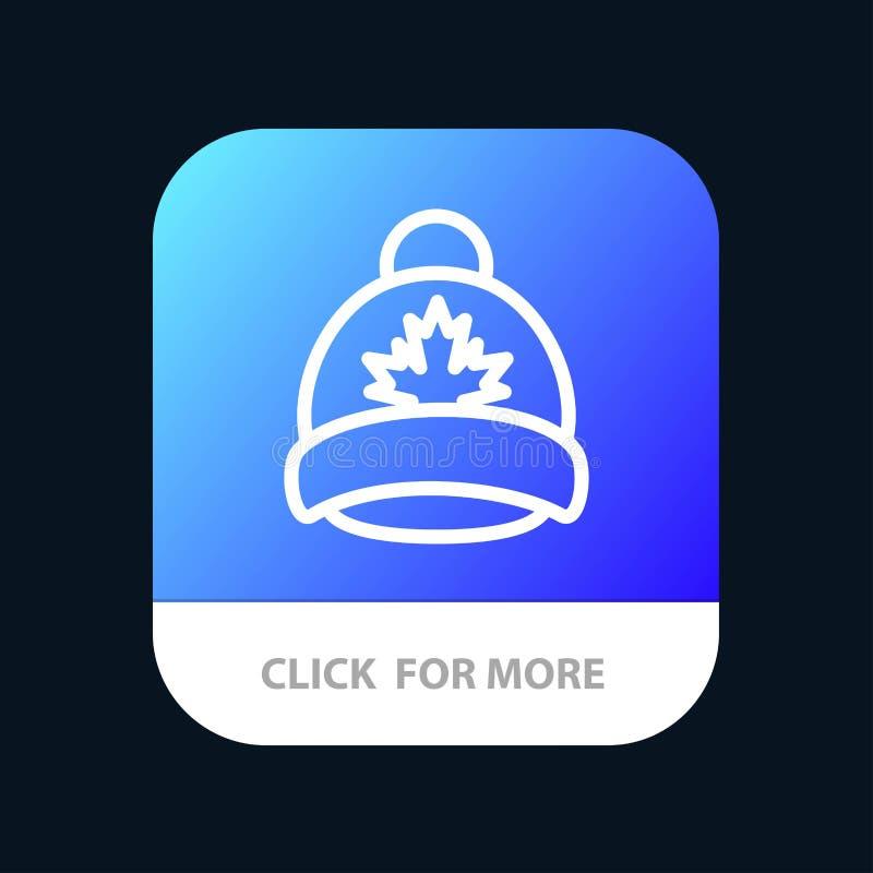 Kapelusz, nakrętka, liść, Kanada App Mobilny guzik Android i IOS linii wersja ilustracji