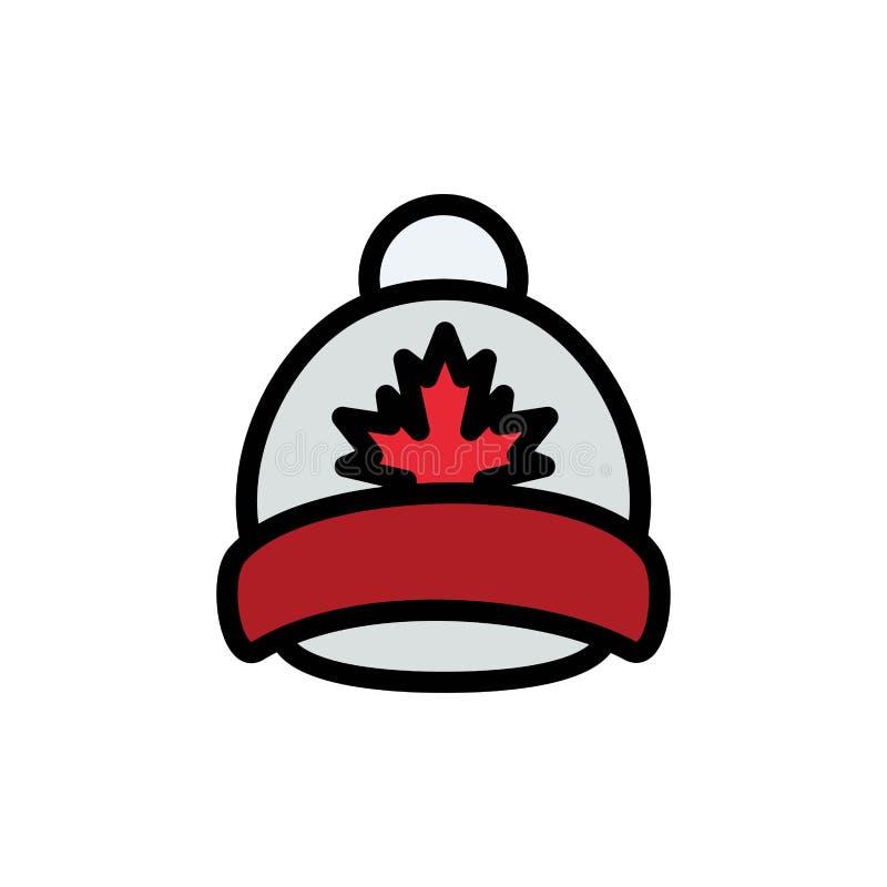 Kapelusz, nakrętka, liść, Kanada koloru Płaska ikona Wektorowy ikona sztandaru szablon ilustracja wektor