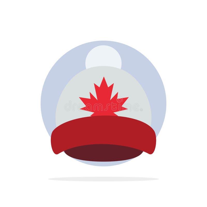 Kapelusz, nakrętka, liść, Kanada okręgu Abstrakcjonistycznego tła koloru Płaska ikona royalty ilustracja