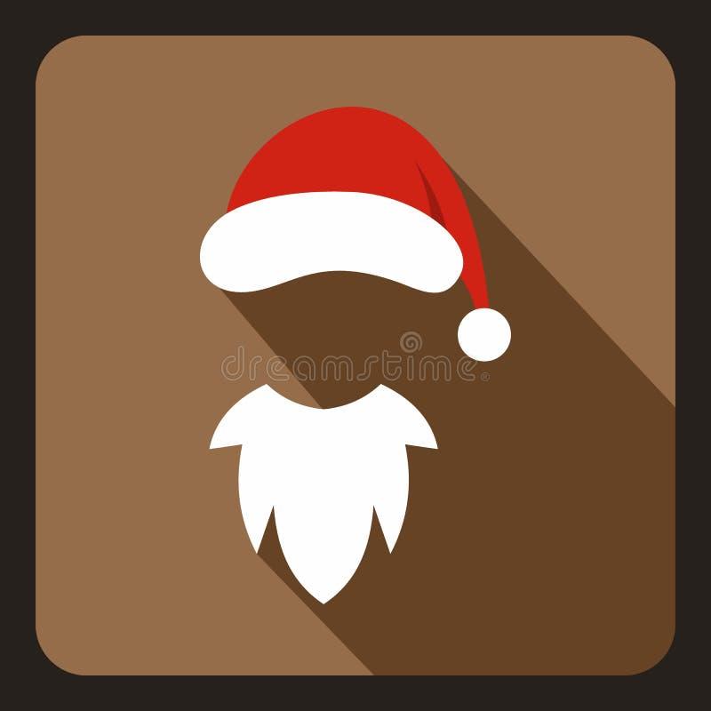 Kapelusz z pomponem i białą brodą Święty Mikołaj royalty ilustracja