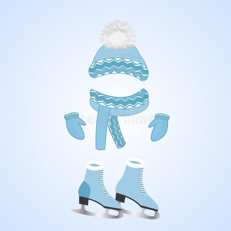Kapelusz z puszystym pompon, szalik, mitynki Łyżwy z futerkiem Zima sportów dzień ilustracja wektor