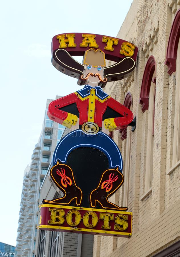 Kapelusze i buty Odziewa buty i odzież sklep, W centrum Nashville obraz royalty free