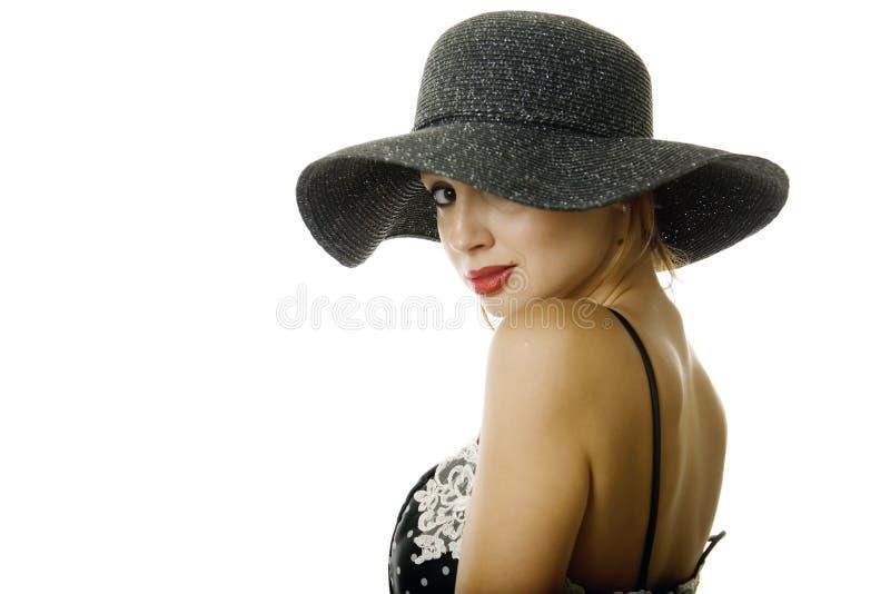 kapeluszowa ładna kobieta obraz stock