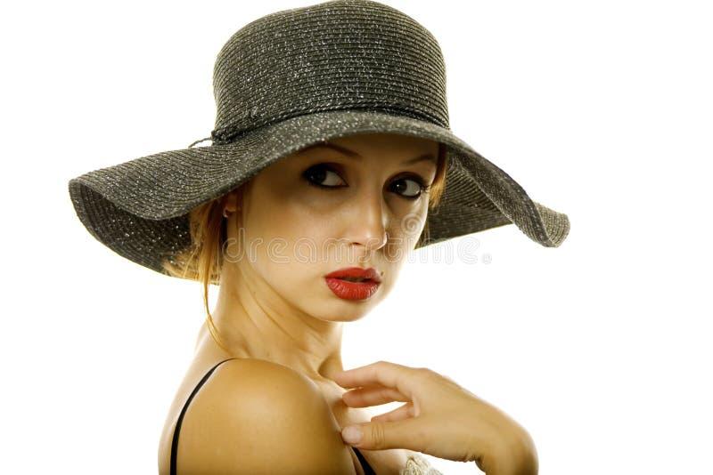 kapeluszowa ładna kobieta zdjęcie stock