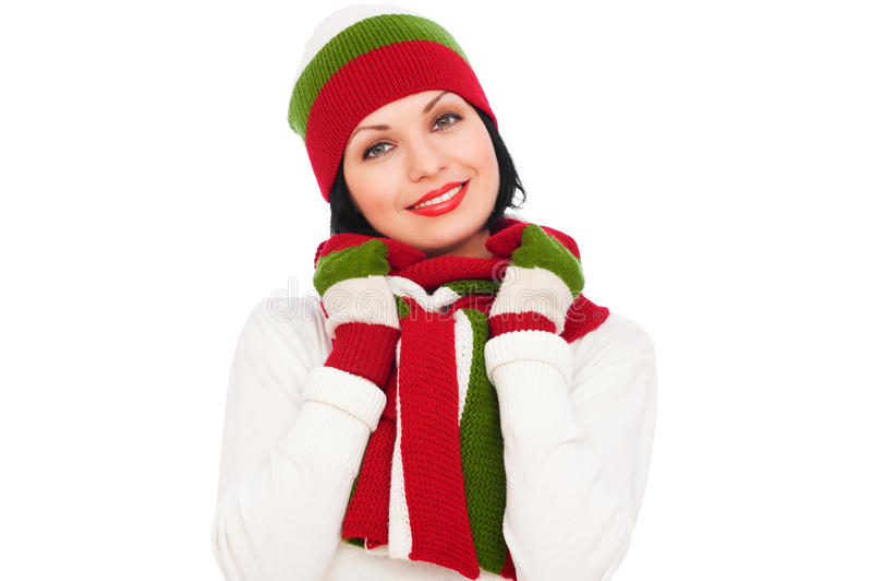 kapeluszowa ładna szalika smiley kobieta zdjęcie stock