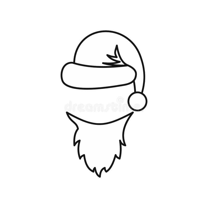 Kapeluszowa i biała broda Święty Mikołaj ikona royalty ilustracja