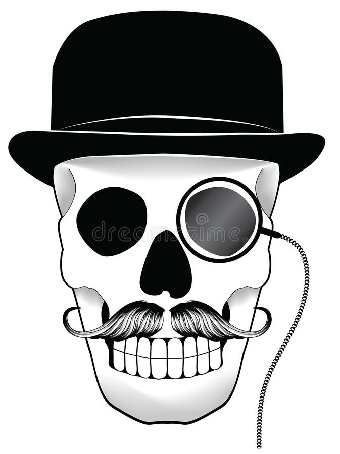 kapeluszowa ilustracyjna Mon wąsy czaszka ilustracji