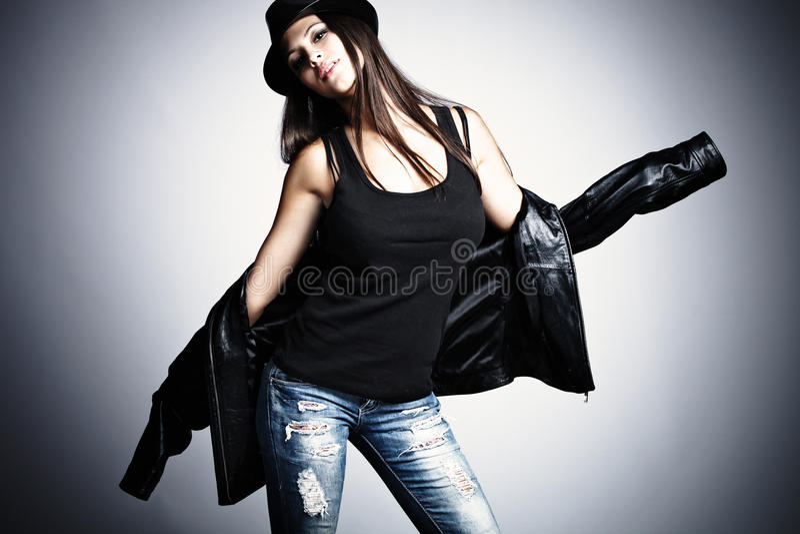 kapeluszowa kurtki skóry kobieta obrazy royalty free