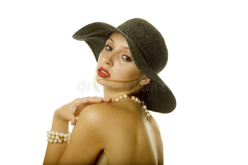kapeluszowa seksowna kobieta zdjęcia stock
