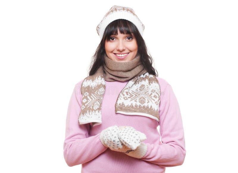 kapeluszowa szalika smiley kobieta obraz stock