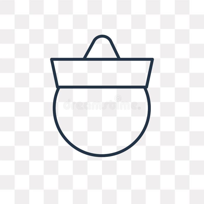 Kapeluszowa wektorowa ikona odizolowywająca na przejrzystym tle, liniowy kapelusz t royalty ilustracja
