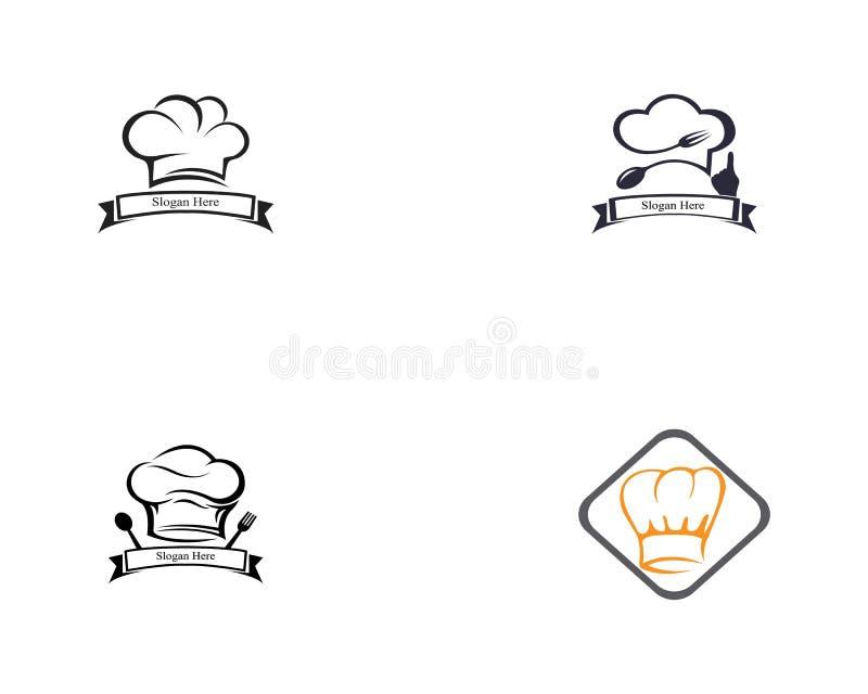Kapeluszowej szef kuchni ikony logo wektoru ustalony szablon ilustracja wektor