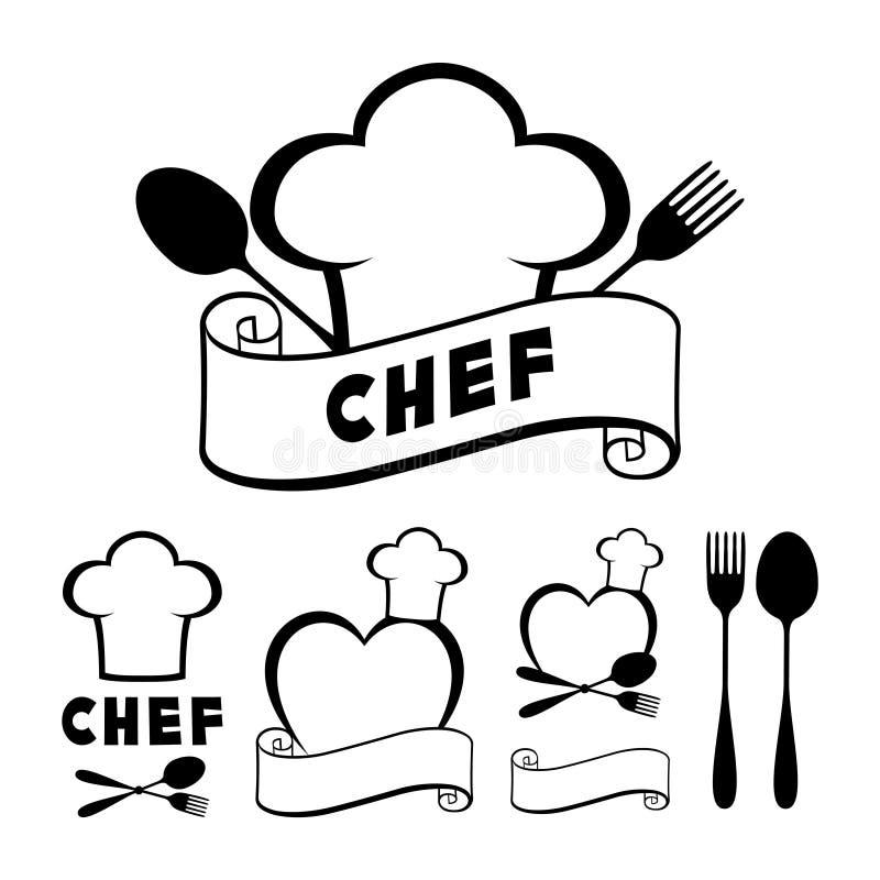 Kapeluszowy szefa kuchni kucharz, rozwidlenie, łyżka, faborek i serce, ilustracji