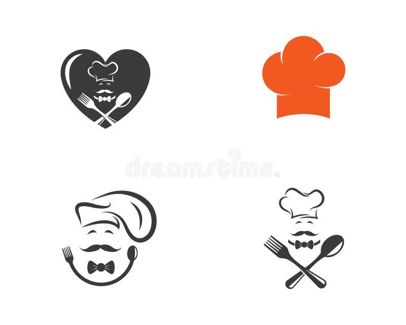 kapeluszowy szefa kuchni loga szablonu wektor ilustracji