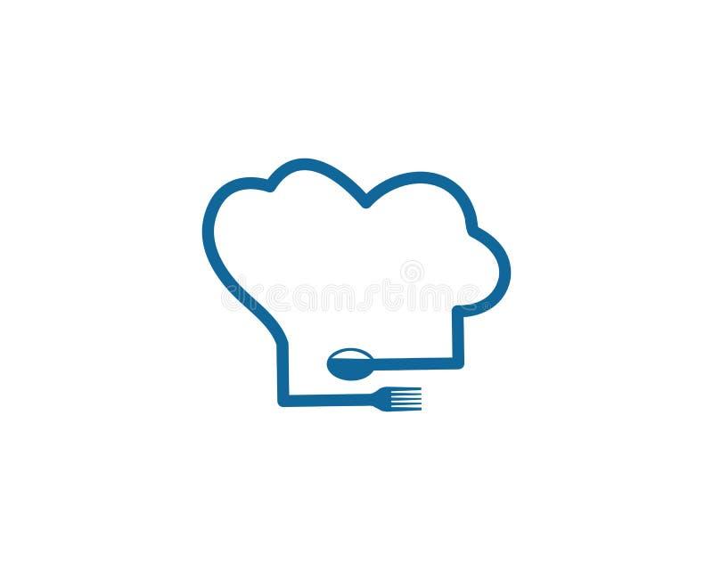 kapeluszowy szefa kuchni loga szablonu wektor royalty ilustracja