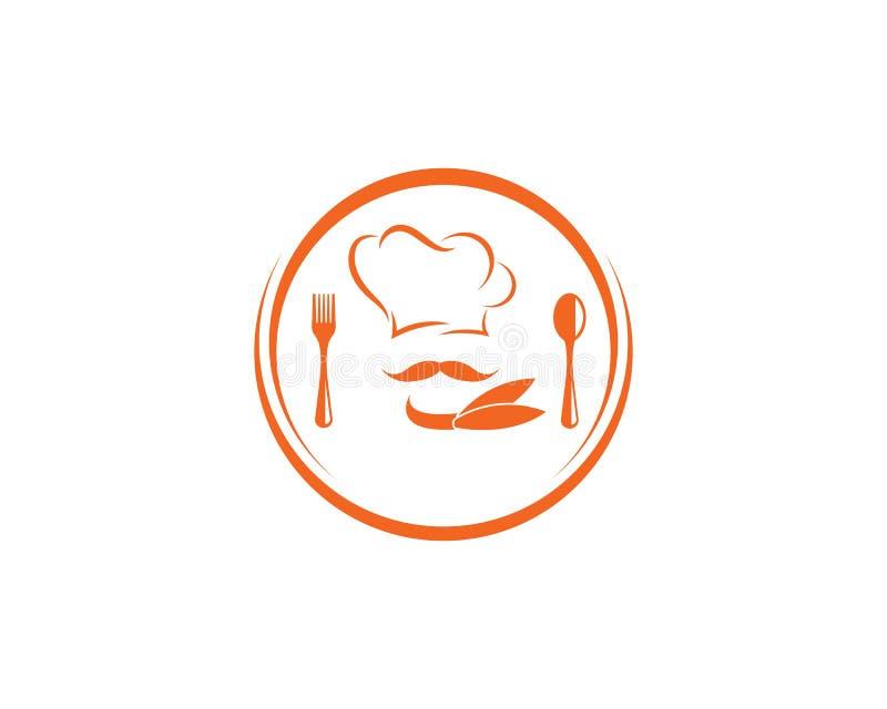 kapeluszowy szefa kuchni logo szablonu vecto royalty ilustracja
