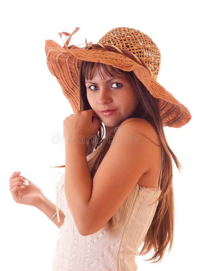 kapeluszu odosobneni seksowni rocznika kobiety potomstwa obrazy stock