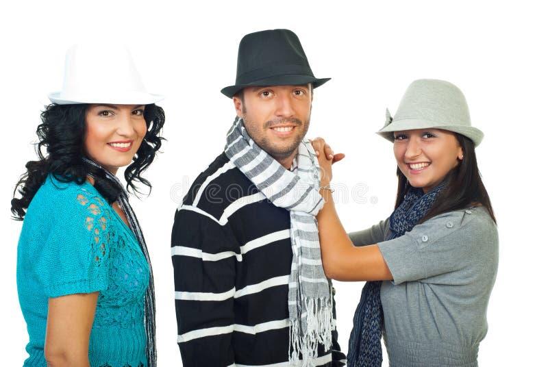 kapeluszy eleganccy ludzie trzy zdjęcie royalty free