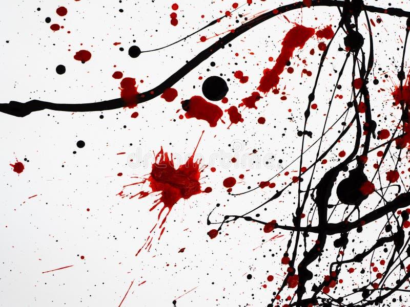 Kapiąca czarna czerwona farba odizolowywająca na białym tle jednakowy krew Bieżący olejów napędowych pluśnięcia, krople  ilustracji
