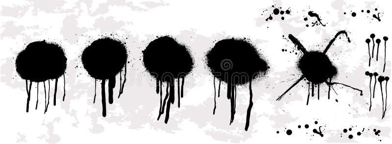 Kapiąca nafciana kropla Kiść graffiti matrycują szablon royalty ilustracja
