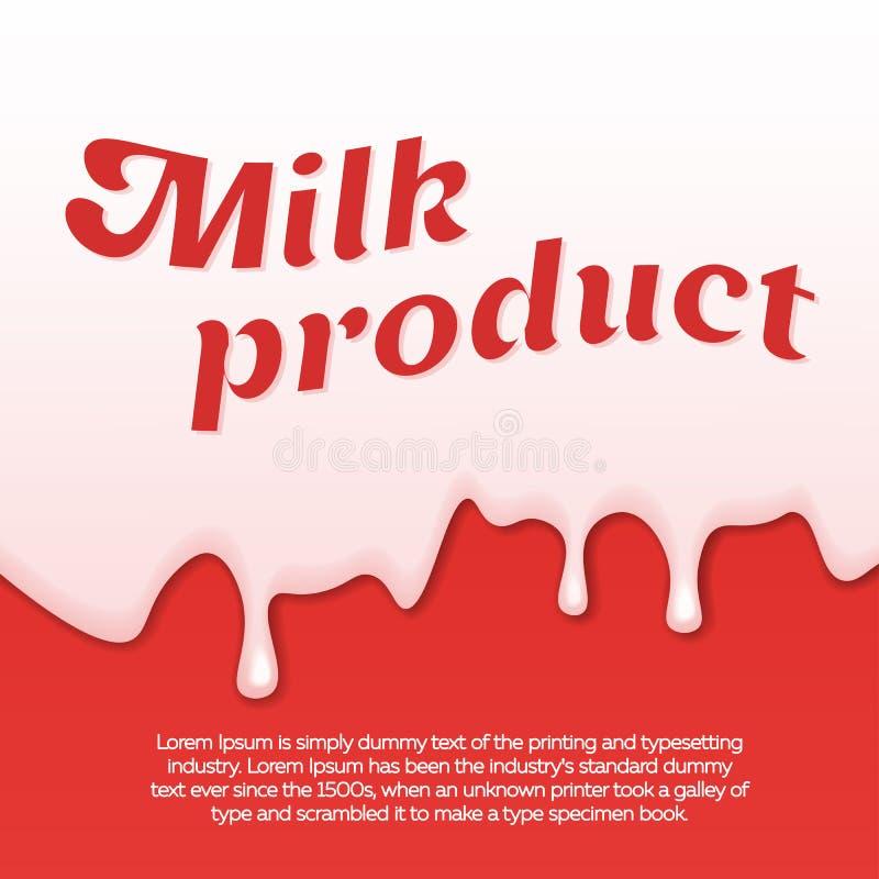 Kapiący bielu mleko, śmietanka, farba jogurt na czerwonym tle Abstrakcjonistyczny szablon z mlekiem również zwrócić corel ilustra ilustracji