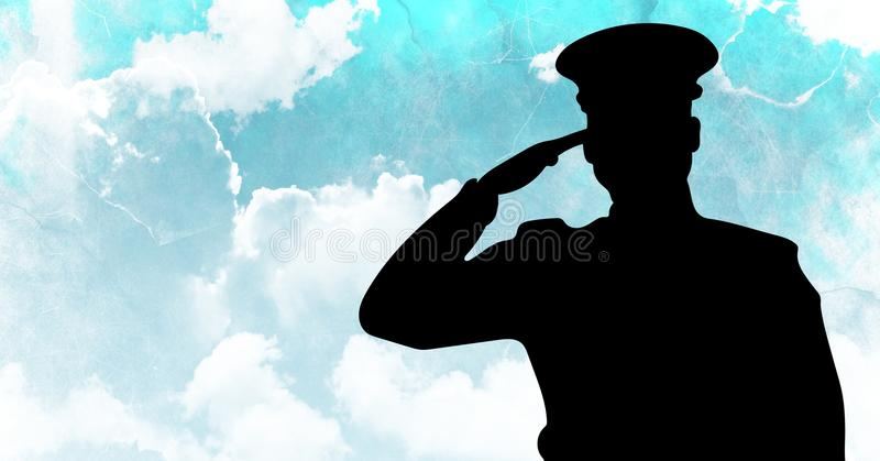 Kapitänschattenbild, das gegen blauen Himmel begrüßt stock abbildung