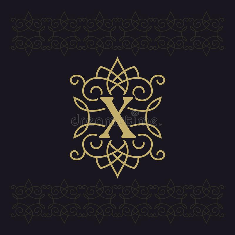 Kapitałowy list X Piękny monogram Elegancki logo kaligraficzny projektu Luksusowy emblemat Rocznika ornament Prosty grafika styl ilustracja wektor